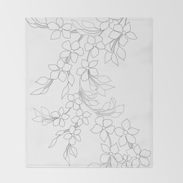 Minimal Wild Roses Line Art Throw Blanket