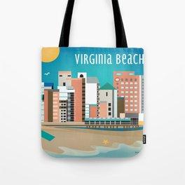 Virginia Beach, Virginia - Skyline Illustration by Loose Petals Tote Bag