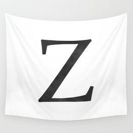 Letter Z Initial Monogram Black and White Wall Tapestry
