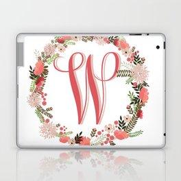 Personal monogram letter 'W' flower wreath Laptop & iPad Skin