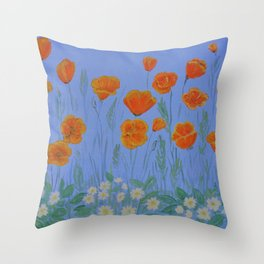 Poppies And Primroses Throw Pillow