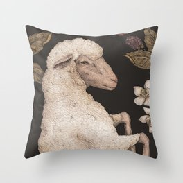 The Sheep and Blackberries Throw Pillow