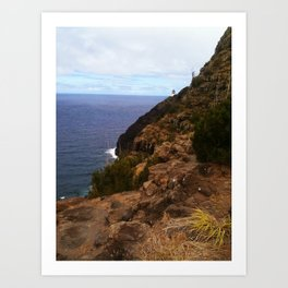 Oahu, Hawaii cliffs and lighthouse, pacific ocean Art Print