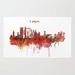 London Skyline watercolor Rug