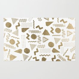 Retro abstract geometrical faux gold white 80'spattern Rug