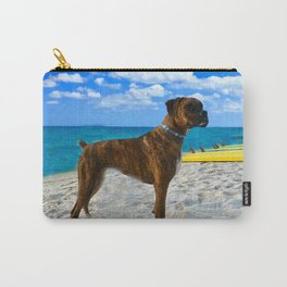 BOXER DOG SURFER BEACH BUM AND FRIEND Carry-All Pouch