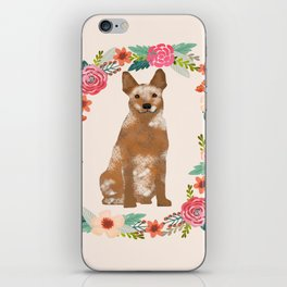 Australian Cattle Dog red heeler floral wreath dog gifts pet portraits iPhone Skin