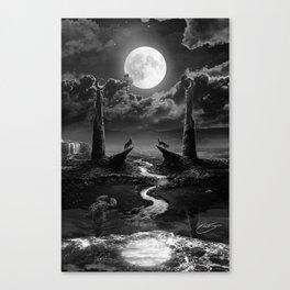 XVIII. The Moon Tarot Card Illustration Canvas Print