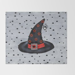 Black Witch Hat Silver Buckle Black Stars Cute Dangling Spider Throw Blanket
