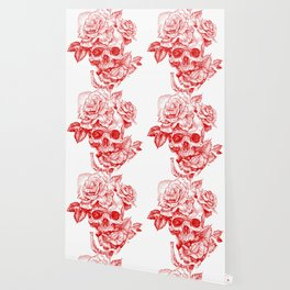 Roses and Human Skull - Red Wallpaper