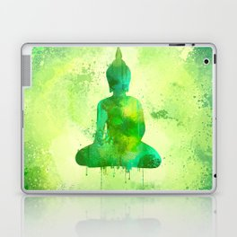 Green Watercolor Buddha Painting Laptop & iPad Skin