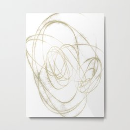 Beige and Brown Minimalist Abstract Line Drawing Metal Print