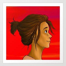 girl at sunset Art Print