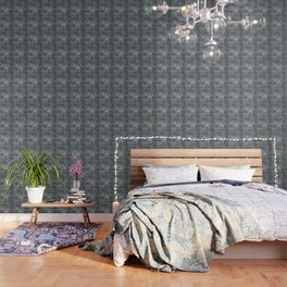 Elephant Ethnic Style Pattern Teal and Copper Wallpaper