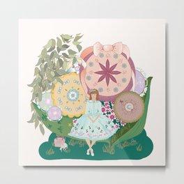 In her flower garden Metal Print