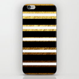 Black and Gold Foil Stripes iPhone Skin