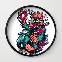 Scooter Driver - GREEN Wall Clock