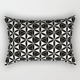 Flower of Life Pattern black-white Rectangular Pillow