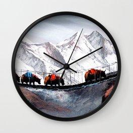 Herd Of Mountain Yaks Himalaya Wall Clock
