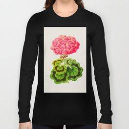 Vintage Botanical Illustration Beautiful Pink Flower Lush Green Leaves Scientific Floral Drawing Long Sleeve T-shirt