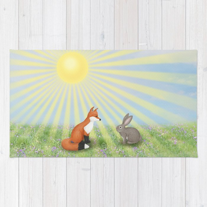fox and bunny Rug