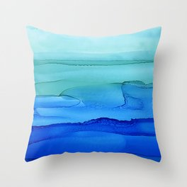 Alcohol Ink Seascape Throw Pillow