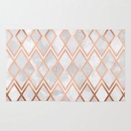 Copper & White Geo Diamonds Rug