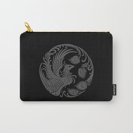 Traditional Gray and Black Chinese Phoenix Circle Carry-All Pouch