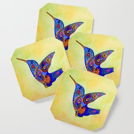 humming bird in color with green-yellow back ground Coaster