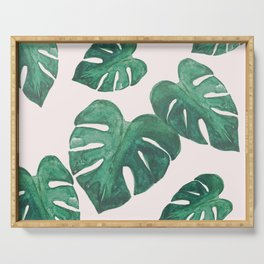 Monstera Leaves on Pink Serving Tray