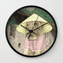 Shar Pei on the Great Wall (China) Wall Clock