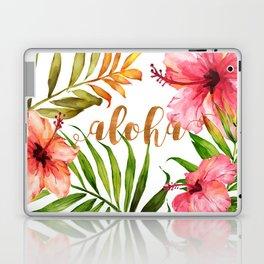 Aloha Watercolor Tropical Hawaiian leaves and flowers Laptop & iPad Skin