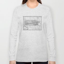 Vintage Map of Puerto Rico (1901) BW Long Sleeve T-shirt