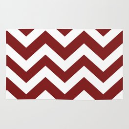 Falu red - red color - Zigzag Chevron Pattern Rug