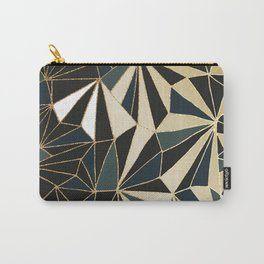 New Art Deco Geometric Pattern - Emerald green and Gold Carry-All Pouch