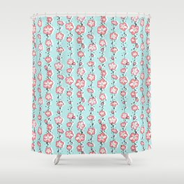 Watermelon Rose Wildflower Shower Curtain