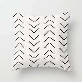Mud Cloth Big Arrows in Cream Throw Pillow