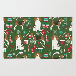 Beagle christmas pet friendly dog breed pattern present wrapping paper for dog lover Rug