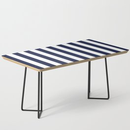 Maritime pattern- darkblue stripes on clear white - vertical Coffee Table