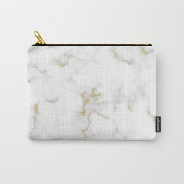 Fine Gold Marble Natural Stone Gold Metallic Veining White Quartz Carry-All Pouch