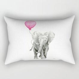 Elephant Watercolor Pink Balloon Baby Animal Nursery Girl Art Rectangular Pillow
