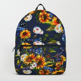 Modern yellow orange blue watercolor sunflower floral pattern Backpack