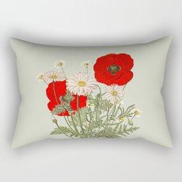A country garden flower bouquet -poppies and daisies Rectangular Pillow