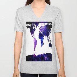 world map. (Blue Purple Galaxy) Unisex V-Neck