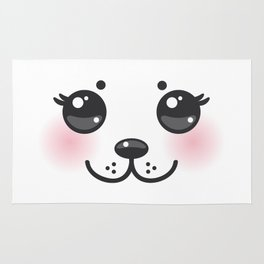 Kawaii funny albino animal white muzzle with pink cheeks and big black eyes Rug