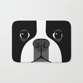 Boston Terrier Close Up Bath Mat