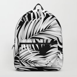 Palm Tree Fronds White on Black Hawaii Tropical Décor Backpack