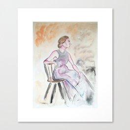 Eine Mysteriöse Dame beim Nachdenken Canvas Print