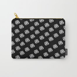 White Rose, Black Background Carry-All Pouch