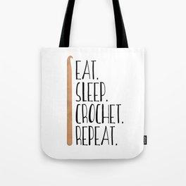 Eat Sleep Crochet Repeat Tote Bag